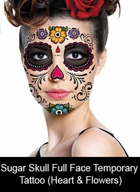 Temporary Face Tattoos - Sugar Skull (Heart & Flowers)