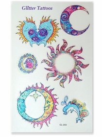 Sun, Moon & Dolphins Glitter Temporary Tattoos