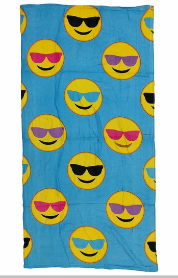 Sunglasses Smiley Face Emoji Velour Beach & Bath Towel (Blue)<!-- Click to Enlarge-->