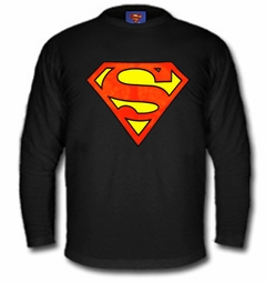 Superman Classic Logo Long Sleeve Shirt (Black)