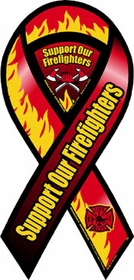 Support Our Firefighters Car Ribbon Magnet