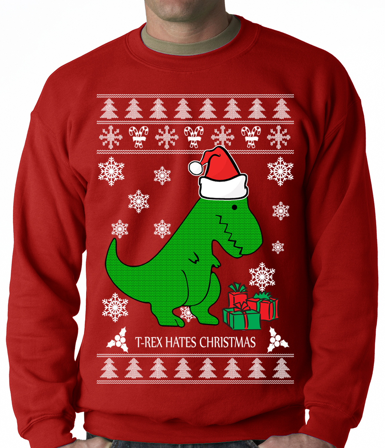 T-Rex Hates Christmas - Ugly Christmas Sweater Adult Crewneck ...