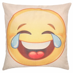 Tears of Joy Emoji Smiley Face Throw Pillow