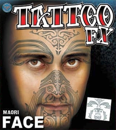 Temporary Face Tattoos - Maori Full Face Tattoo