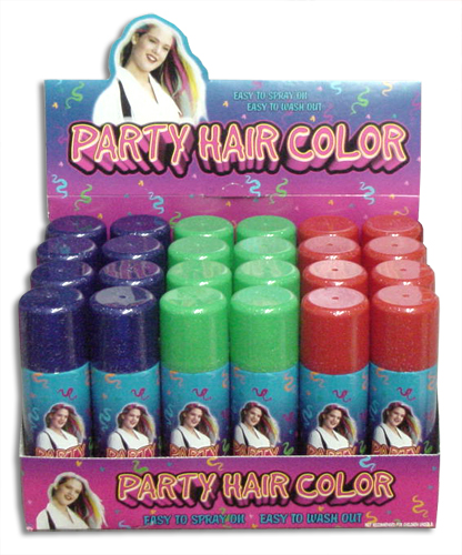 Temporary Spray In Hair Color With Glitter Box Of 24
