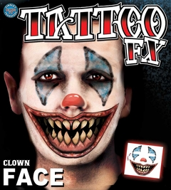 Temporary Face Tattoos - Scary Clown Face