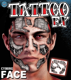 Temporary Face Tattoos - Scary Cyborg Face