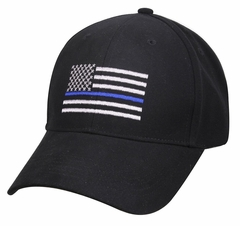 Thin Blue Line Flag Embroidered Adjustable Strap Back Hat