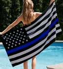 Thin Blue Line Flag Towel - Support Police Beach & Bath Towel