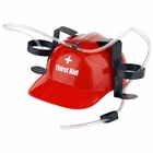 Beer Helmet - Thirst Aid Funny Beer Can Hat (Red)