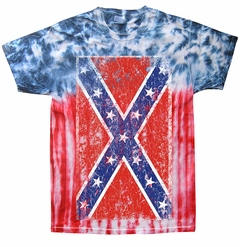 Tie Dye Distressed Confederate Flag Mens T-shirt