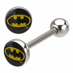 Tongue Body Jewelry - Classic Batman Logo Barbell for Tongue Piercings