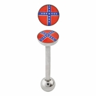 Tongue Barbell -  Rebel Flag Jewelry for Tongue Piercing