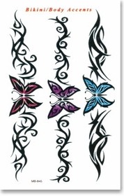 Tribal Butterfly Bikini and Back Temp. Tattoo