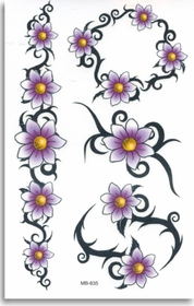Tribal Daisies  Temporary FakeTattoo
