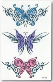 Tribal Glass Butterflies Temporary Tattoo