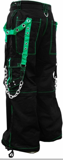 "Tripp NYC ""Fallout"" Bondage Pants (Black / Green)<!-- Click to Enlarge-->"