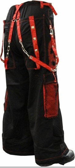 "Tripp NYC ""Ghost Skull"" Bondage Pants (Black / Red)<!-- Click to Enlarge-->"