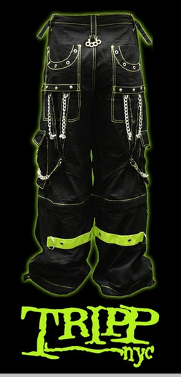 "Tripp NYC ""Toxic Avenger"" Bondage Pants (Black/Neon Green)<!-- Click to Enlarge-->"