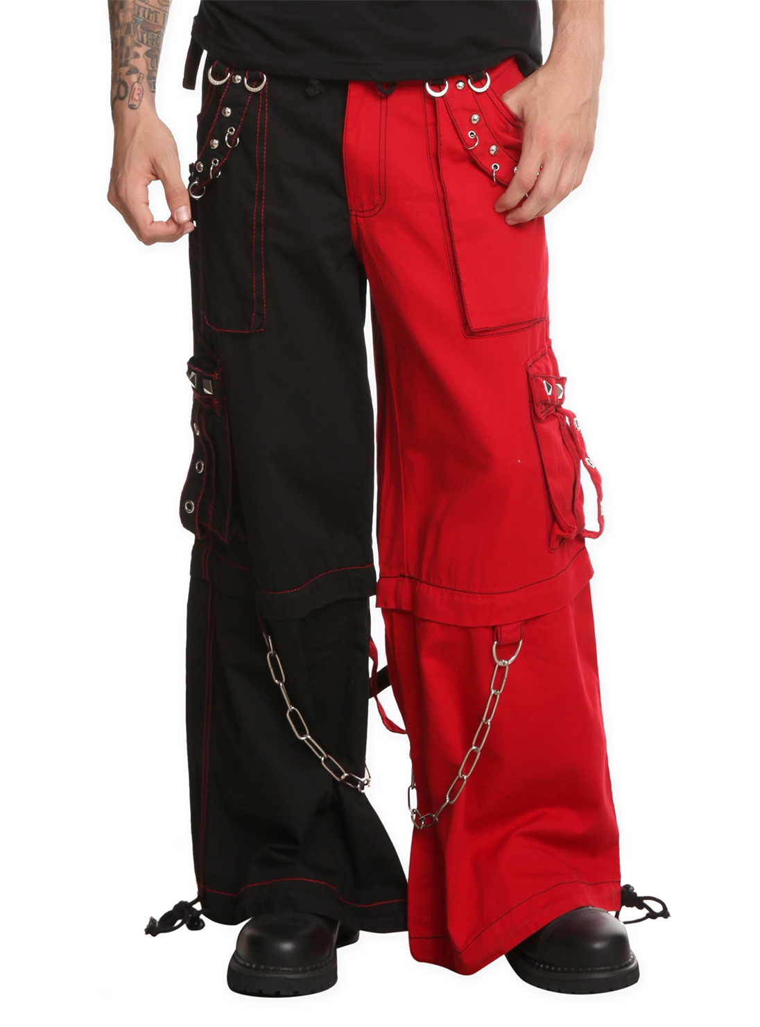 Tripp Red Amp Black Two Tone Split Leg Pants With Zip Off