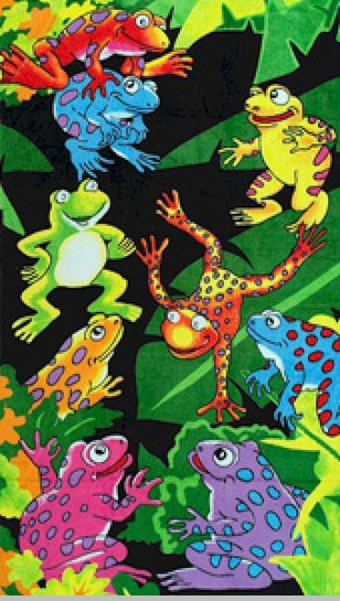 Tropical Colorful Tree Frogs Velour Beach & Bath Towel<!-- Click to Enlarge-->