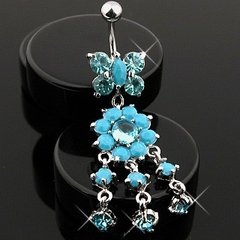 Navel Body Jewelry - Turquoise Butterfly w/Flower Dangle