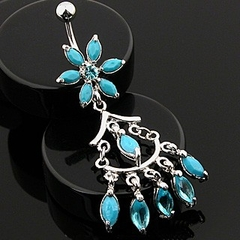Navel Body Jewelry - Turquoise Flower W/ Chandelier Dangle Belly Button Ring