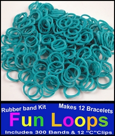 Turquoise Rubberband Looms - 300 Fun Loop Pieces