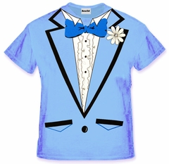 Tuxedo Shirt - Men's Light Blue Tuxedo T-Shirt With Ruffles