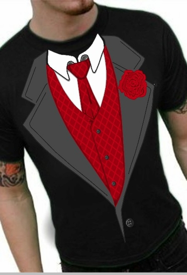 Tuxedo Shirts - Formal Tuxedo T-Shirt With Red Tie And Rose<!-- Click to Enlarge-->