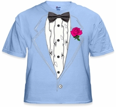 Tuxedo T-Shirts - Mens Light Blue  Ruffled Tuxedo T-Shirt With Pink Rose