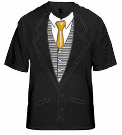 Tuxedo T-Shirts - Mens Special Occasion Tuxedo Shirt with Gold Tie