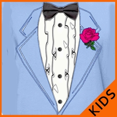 Tuxedo TShirts - Kids Ruffled Tuxedo T-Shirt With Pink Rose (light Blue shirt)