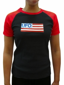 UFO Girls Jersey T-Shirt (Black / Red)