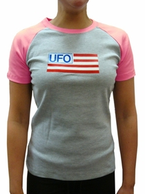 UFO Girls Jersey T-Shirt (Grey / Pink)