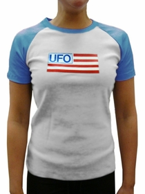 UFO Girls Jersey T-Shirt (White / Baby Blue)