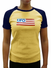 UFO Girls Jersey T-Shirt (Yellow / Navy)