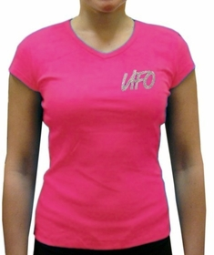 UFO Girly Cap Sleeve V-Neck T-Shirt (Hot Pink)