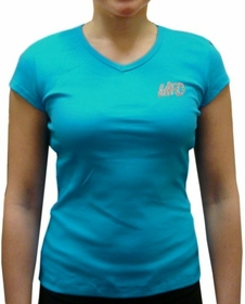 UFO Girly Cap Sleeve V-Neck T-Shirt (Turquoise)