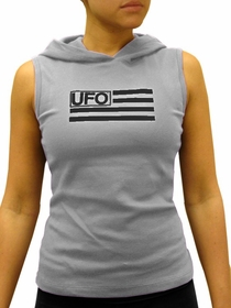 UFO Girly Sleeveless Hooded Tee (Light Grey)