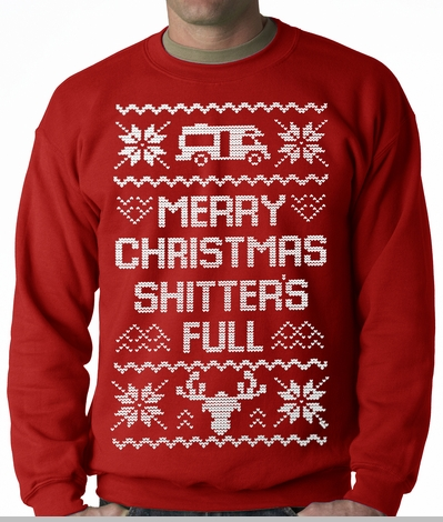 Ugly Christmas Sweater - Merry Christmas Shitters Full Ugly Adult ...