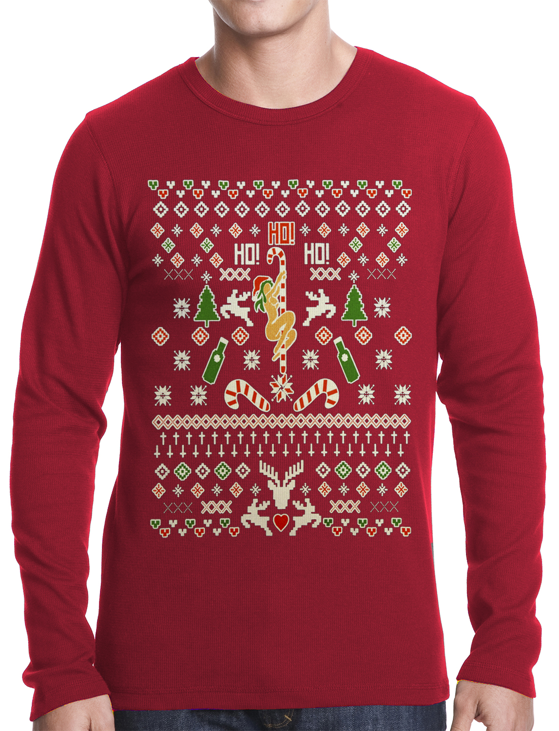 Ugly Christmas Thermal - Sexy Girl Stripper Pole Thermal Shirt