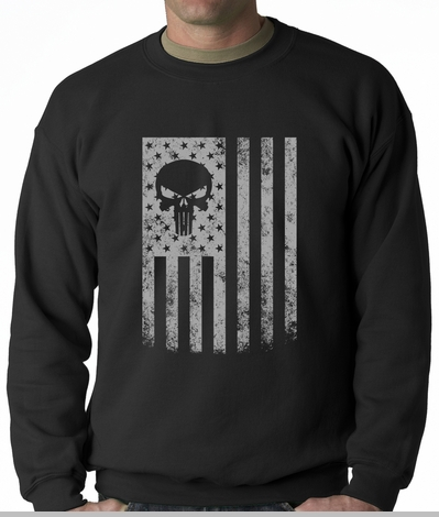 USA - American Flag Military Skull Adult Crewneck<!-- Click to Enlarge-->
