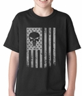 USA - American Flag Military Skull Kids T-shirt
