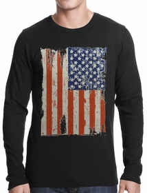 Vertical Distressed American Flag Thermal Shirt