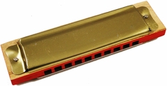 "Vintage 1970s 4"" Wood and Metal Harmonica"