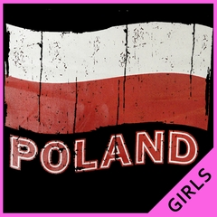 Vintage Poland Waving Flag Girl's T-Shirt