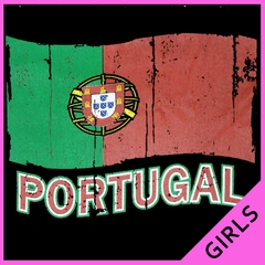 Vintage Portugal Waving Flag Girl's T-Shirt
