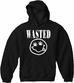Wasted Pot Leaf Smiley Face Adult Hoodie