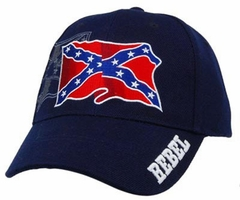 Waving Rebel Confederate Flag Embroidered Adujstable Hat (Navy Blue)